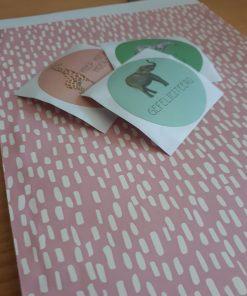 Cadeauzakje roze/raindrops17x25 (per 5 stuks)
