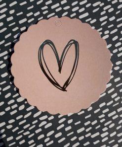 Label goudfolie hart (roze)