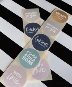 Cadeaustickers pastel (congratulations)