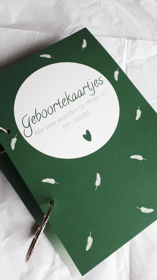 Geboortebundel – Bewaarbundel geboortekaartjes groen