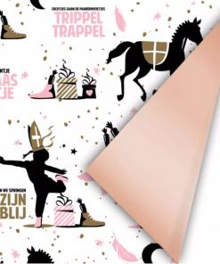 Cadeaupapier Sint – Roze/Goud