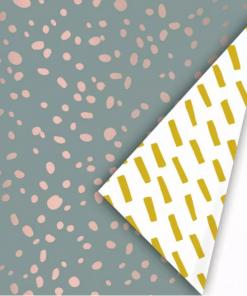 Cadeaupapier – Mint/Oker/Oudroze dots