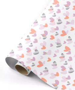 Cadeaupapier – Hartjes neon/roze/zilver