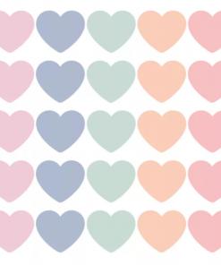 Cadeaustickers – Hartjes pastel