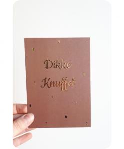 Ansichtkaart goudfolie – Dikke knuffel