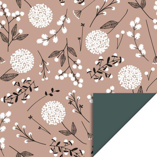 Cadeaupapier – Flowers Big Pink/Petrol